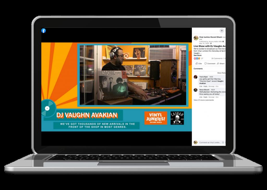 Computer with vinyl Junkies livestream