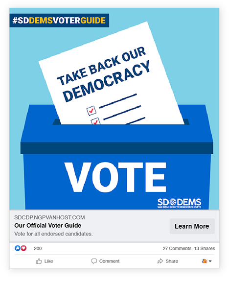 San Diego County Democratic Party Digital Advertising