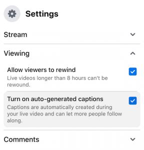 Livestream settings on Facebook