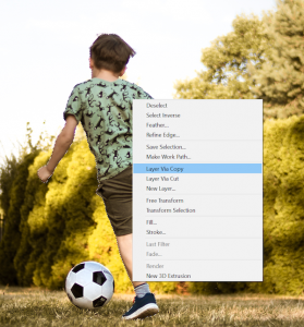 Place your Selection in a New Layer in Photoshop