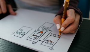 Person drawing a UX customer journey
