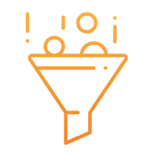icon with a digital advertising funnel