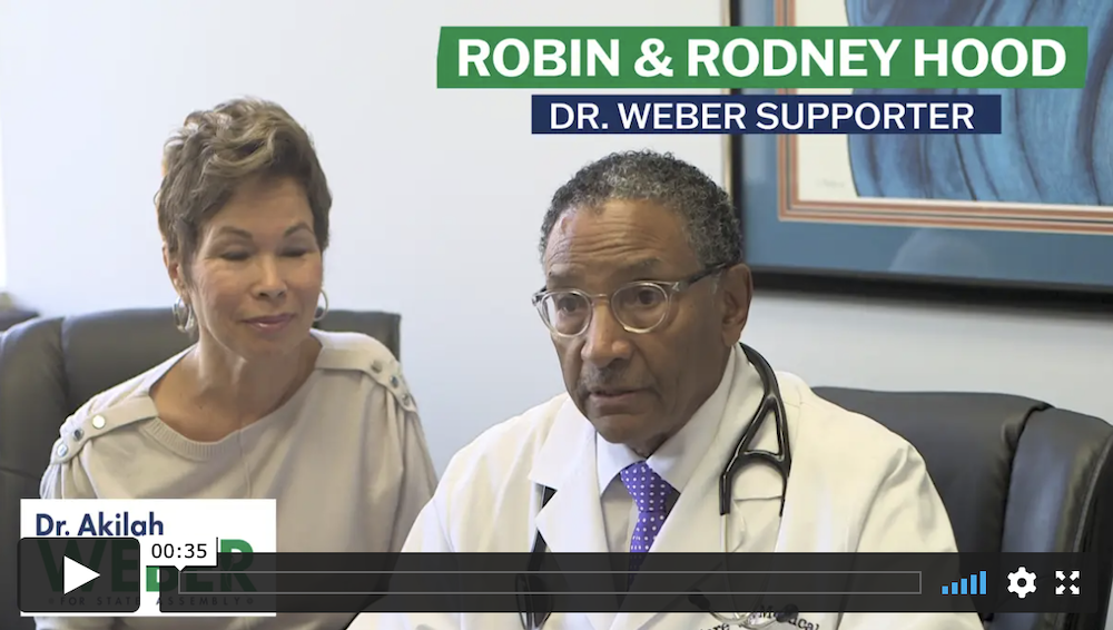 Video of Dr. Rodney and Robin Hood supporting Akilah Weber for State Assembly
