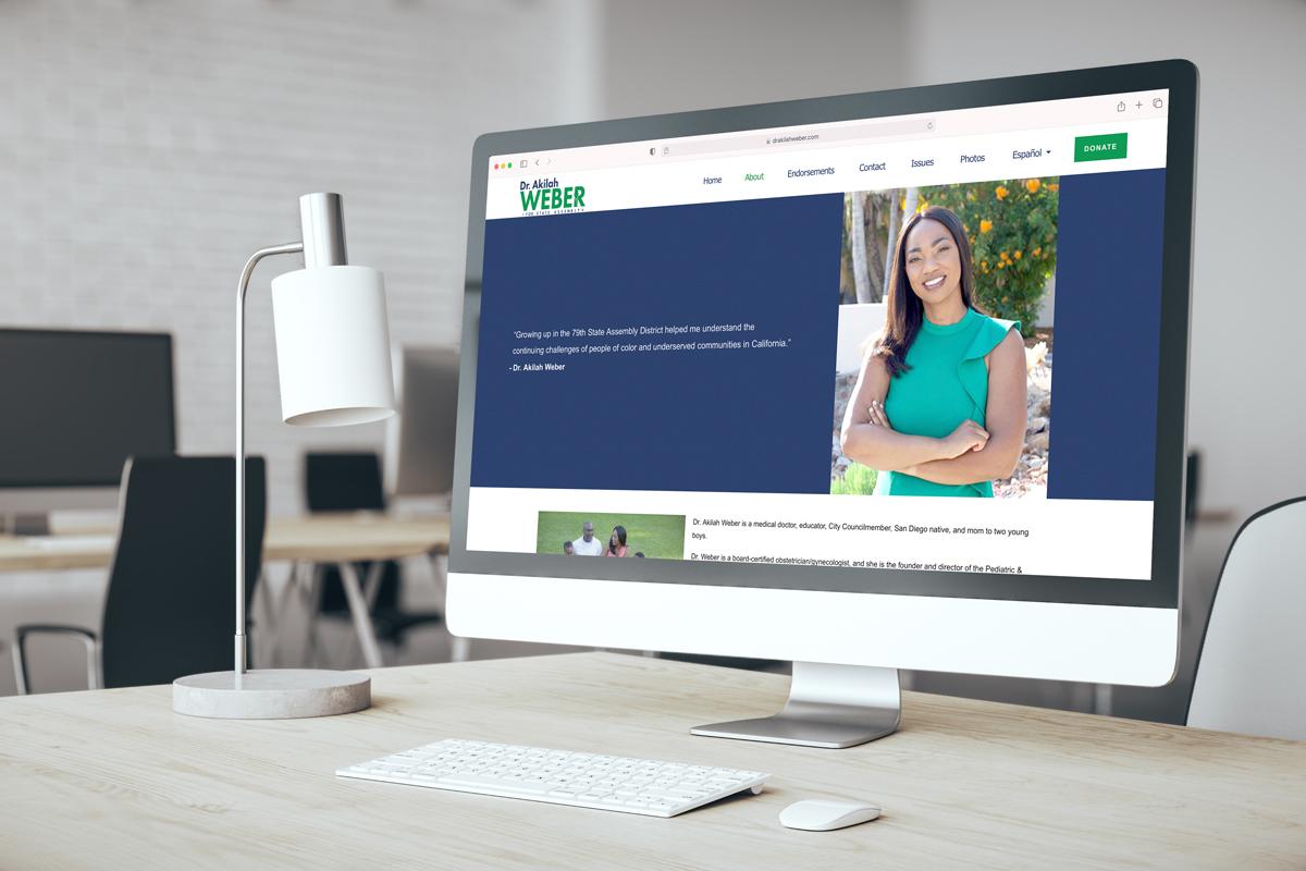Dr. Akilah Weber website on a desktop
