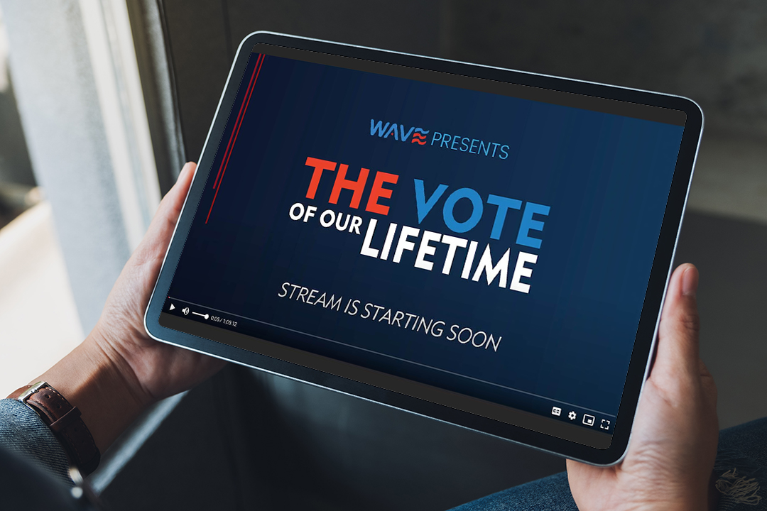 person watching the Wave livestream on a tablet